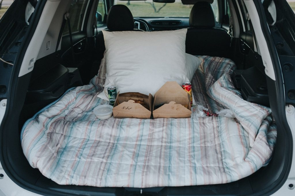 bed setup inside a car