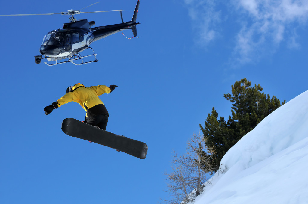 snowboarding with helicopter